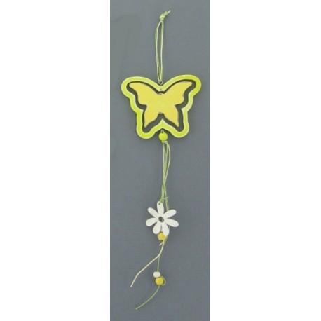 Motýl dřevěný - barva bílo/žlutá