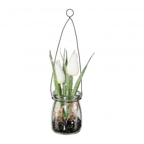 Tulipán závěs ve skle